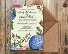 Rustic Garden Invitation - Printable Editable PDF by PolinaGarden Blue Hydrangea Wedding, Rustic Gardens, Etsy Seller, Pdf, Printables, Invitations, Creative, Print Templates, Save The Date Invitations