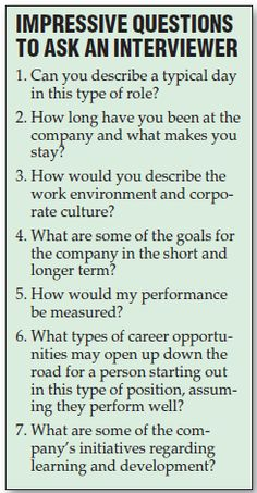 Ideas for questions to ask your interviewer