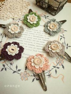 Pin & Rubber de flores en tweed de algodón de color naranja