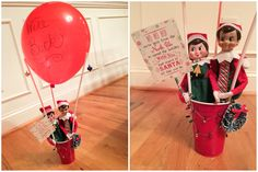 Elf on the Shelf Ideas. Elf Arrival. The elves arrived via hot air balloon! To view more pins like this one, search for Pinterest user amywelsh18.