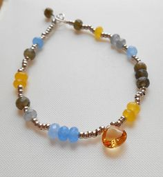 Esther gemstone beaded bracelet stackable layering tennis