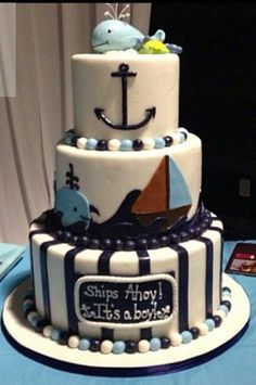 Perfect for the ocean/underwater theme I want.- Nautical baby boy cake