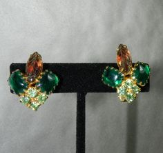 50s Juliana D & E Earrings Open Back Art Glass Molded Glass Rhinestone Autumn Colors High End Vintage Jewelry Excellent Condition by JeweledLuv on Etsy