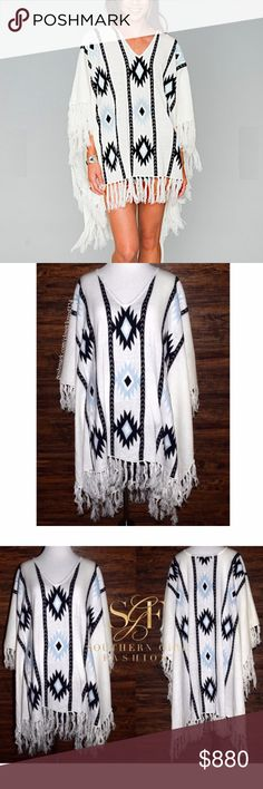 SHOW ME YOUR MUMU Draped Top Intricate Boho Tunic Size Large. Brand New With Tags.  • Beautiful sweater poncho featuring soft breathable fabric & fringed tassel accents. • Wear as a coverup, cape, blanket, poncho, etc - very versatile! • Dainty v-neckline & draped armholes for an effortless fit. • Bold geometric patterned design throughout. • Off-white with shades of blue multi. • Perfect for layering! • 140 msrp + tax • L = 12-14  # Fall  { Southern Girl Fashion } • Same-Business-Day…