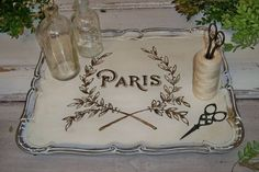 Wood ornate Paris tray hand painted decorated by AnitaSperoDesign, $75.00
