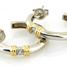 Hoop earrings with a beautiful diamond with total weight of Round Diamonds, Gold Earrings, Hoop, Bracelets, Silver, Beautiful, Jewelry, Gold Stud Earrings, Bangles