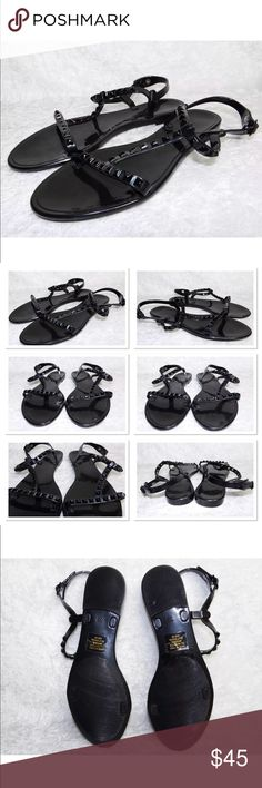 Rebecca Minkoff Sava Sandals Black Sz 8 Rebecca Minkoff Sava Sandals New without box or tags Great pair of sandals from Rebecca Minkoff Pair with skinny, flared, jeans and or shorts, leggins or a dress with any color top Flexible sturdy flats Sold out in stores Rebecca Minkoff Shoes Sandals