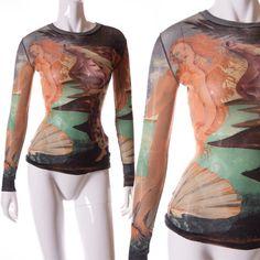 Jean-Paul-Gaultier-Vintage-Sheer-Botticelli-034-Birth-of-Venus-034-Print-Top