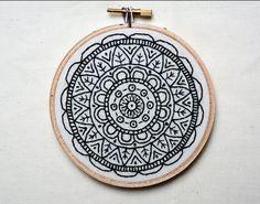 "Mandala embroidery hoop art • 5"" hoop • Home decor • Ready to ship • One of a kind"