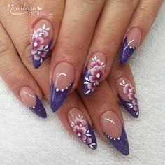 Colorful Nail Designs, Nail Art Designs, Fancy Nails, Cute Nails, Toe Nail Art, Acrylic Nails, October Nails, French Tip Nails, Rhinestone Nails