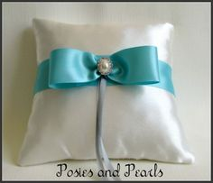 Turquoise Dream Ring Bearer Pillow, Ivory and turquoise wedding ring cushion with bow, pearl, and rhinestone accents #posiesandpearls
