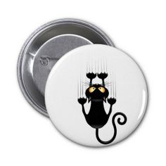★SOLD! #Funny #Black #Cat #Cartoon #Scratching #Wall - #Pinback #Button ★  -  by BluedarkArt on #Zazzle  -  $3.15  -   Thanks a lot to the Buyer(ツ)  http://www.zazzle.com/funny_black_cat_cartoon_scratching_wall_button-145584550957843751
