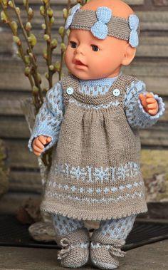 Målfrid Gausel strikkeoppskrift dukkeklaer