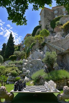 In the gardens of the Chateau de la Chevre d'Or, in Eze, France ♠ by Erwin Berrier - imagine playing chess here! Eze France, Provence France, South Of France, France Europe, Beautiful Places To Visit, Places To See, The Places Youll Go, Places To Travel, Places Around The World