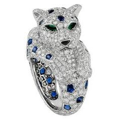 CARTIER Diamond Sapphire Onyx Emerald Panther Ring