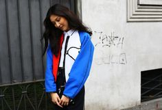 Loving this color block bomber jacket....Street Style: Milan Fashion Week Spring 2015 – Vogue