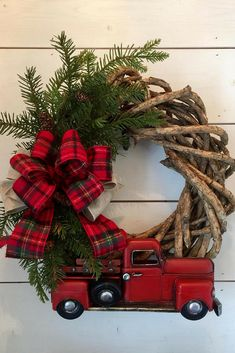 Farmhouse Christmas Decor, wreath, plaid, Etsy, rustic, vintage
