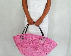 Crochet Bag, Large Straw Beach Bag