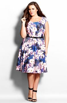 City Chic 'Rose Bloom' Fit & Flare Dress (Plus Size) available at #Nordstrom