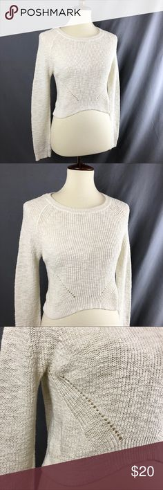 """Anthropologie Moth Crop Knit Sweater Spring perfect 🌸 beautiful asymmetrical crop top knit sweater from Moth for Anthropologie. Off white color. Excellent pre-owned condition. Long sleeve. Cute diamond knit design on the front. Size small. Stretchy. 100% cotton. Measurements approx: 13"""" front length 18"""" back length 17"""" across the bust 25"""" sleeve length Anthropologie Sweaters Crew & Scoop Necks"""