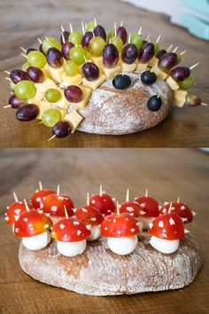 Autumn party - buffet snacks and birthday cake with t Herbstparty – Snacks fürs Buffet und Geburtstagskuchen mit Tieren Ideas for the autumn buffet – cheese hedgehogs and mini mushrooms – quickly made and ideal for the birthday party - Diy Birthday Cake, Birthday Brunch, Brunch Party, Finger Food Appetizers, Appetizers For Party, Finger Foods, Fall Recipes, Snack Recipes, Recipes Dinner