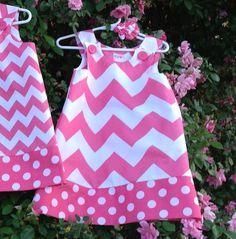 Chevron Dress Pink & White baby infant girl by SewSusanCreations, $25.00