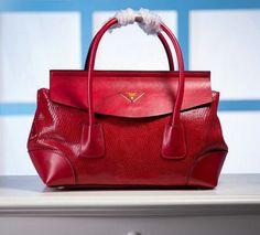 Prada Snake Leather Tote Bag P1168 Red