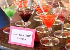"""She's Ready to Pop"" Baby Shower...   little martini glasses and filled them with Sprite. Unwrap your blow pop and stick it in. The blow pop colors and flavors the drink. Genius!!"