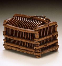Tsukamoto Kyokusai (Japan) Cricket Cage, late 19th-early 20th century Netsuke, Wood,