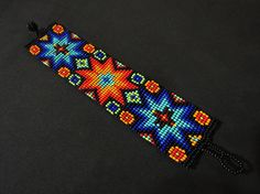 Standard Size: Bracelet in photo is x (default length is ***Please feel free to request custom lengths*** ***Bracelet closing system: Braided ends give more sizing flexibility but require tying. For no additional charge, the braids can be replaced with a Bead Loom Patterns, Beading Patterns, Seed Bead Necklace, Seed Beads, Graph Paper Art, Beadwork Designs, Bead Loom Bracelets, Peyote Beading, Native American Beading