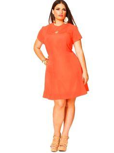 """""""Denise"""" Keyhole Tennis Dress - Neon Coral - Cocktail Dresses - Clothing - Monif C"""