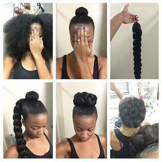 Easy Protective style bun/braid saw on facebook page: African hair braiding and styles
