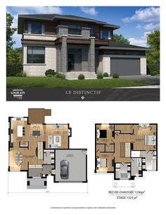 21 rue dApremont- Par Constructions Louis-Seize Blainville à vendre Modern House Floor Plans, Sims House Plans, House Layout Plans, Contemporary House Plans, New House Plans, Dream House Plans, House Layouts, Sims House Design, Modern House Design