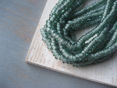 Smokey green moss  Glass beads rondelle small by yukidesigns, $3.50