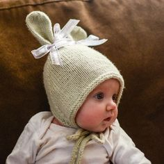 Bunny Hat with Chin Ties knitting pattern by Grumperina - Available at LoveKnitting