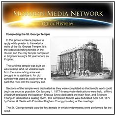 MormonMediaNetwork.com -  The many dedications of the St. George Temple (the oldest operating temple in the church)
