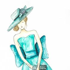 Beautiful watercolour fashion illustration. With her stunning teal dress and elaborate hat she will bring elegance and style to any room. Wall art print coming soon