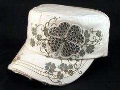 ★ This is a High Quality White Castro Cap! It's a Vintage Military Distressed style Army Cadet Hat, from Leader! It has a Shamrock, Jewels, Stitching and Print! [$12.97]