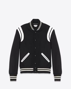 SAINT LAURENT CLASSIC TEDDY JACKET BLACK WOOL AND IVORY LEATHER  $ 2,190.00