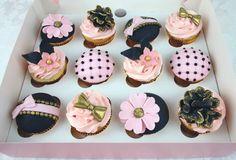 Pink & Navy, Gold Cupcakes