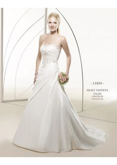 Fabric: Taffeta  Details: Handmade High Quality Sewing and Beading  Quality: Fully Boned and Lined in High Quality, all hamdmade beading without any Glue  Special: Strapless A line Lace up 2010 Bridal Dress  Color: White  Size: Standard Size or Custom Mad