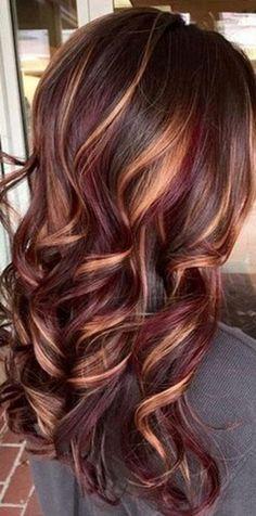 62 Pretty Colors and Fall Hair Highlights Ideas