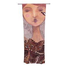 """Suzanne Carter """"Prudence"""" Pink Portrait Decorative Sheer Curtains"""