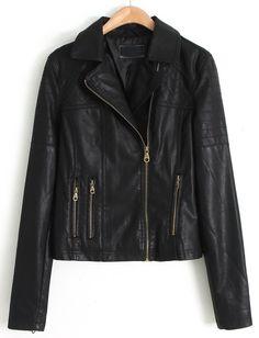 Black Lapel Long Sleeve Zipper Leather Jacket