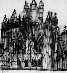 Artist has roughly sketched the cathedral using sharp lines and dark conturing. Their use of monochromatic tones express a haunted/lost expression. A Level Art Themes, Epic Drawings, Urban Painting, Charcoal Art, Gcse Art, Architecture Drawings, Environmental Art, Acrylic Art, Light In The Dark