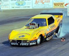 John Force's Brute Force Corvette, pre-Wendys and Jolly Rancher/Coke. Leo's Stereo, lol! Boy he's come a long way in 40 years!