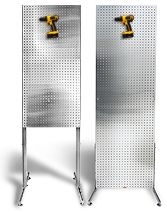 freestanding pegboard - storage on one side, plain on the other side - used as movable partition