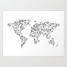 World map white Art Print by knallhatt World Map Wall Decor, World Map Wallpaper, World Map Wall Art, World Map Canvas, World Map Sketch, Multicoloured Art, World Map Painting, World Map Tattoos, Word Map
