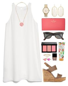 """""""coral monogram"""" by okieprep ❤ liked on Polyvore featuring MANGO, Chan Luu, Kate Spade, Tory Burch, Library of Flowers, Ray-Ban, Bobbi Brown Cosmetics, Butter London and Kendra Scott"""