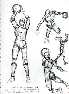 2015 Figure Drawing - Citrus College Sketchbook Homework: Draw several figures in a variety of poses using Cylindrical, Block, and Ovoid froms, using ink pen only (no pencil) Page 1 of 2: In order to make this a bit more fun for myself, I decided to use poses from none other than my favorite basketball player ever (the greatest of all, btw!), Michael Jordan! #arielsartwork #figuredrawing #citruscollege #markwessel #art #drawing #cylindrical #cylindricalform #block #blockform #blockfigure…
